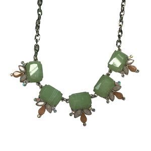 Pale Pink, Green & Silver Necklace & Earrings